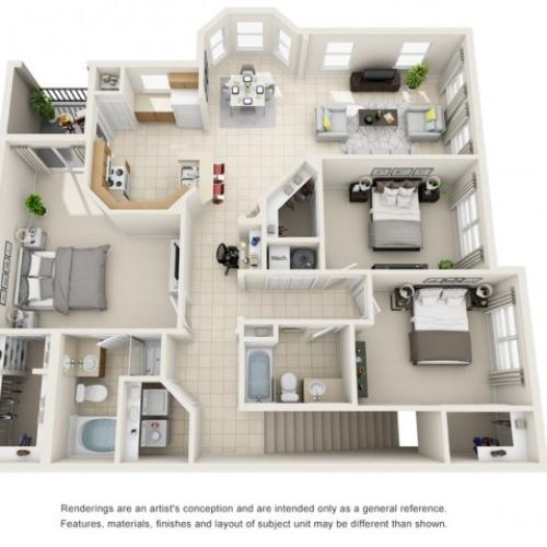 Three Bedroom Floor Plans 2   Apartments For Rent In Rockledge FL   Polo Glen