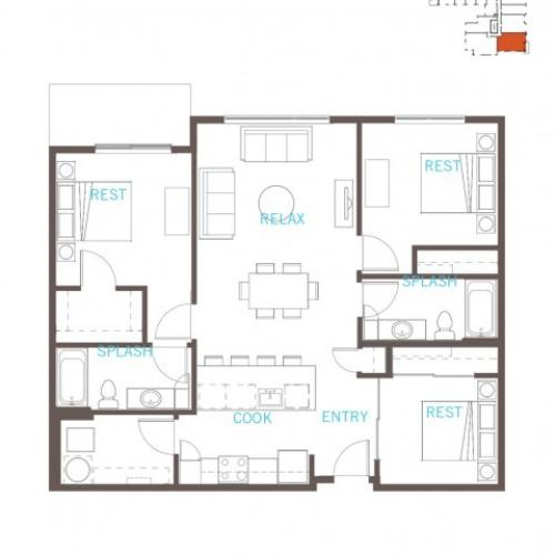 Floor Plan 41 | Apartments For Rent In Bellevue Washington | LIV