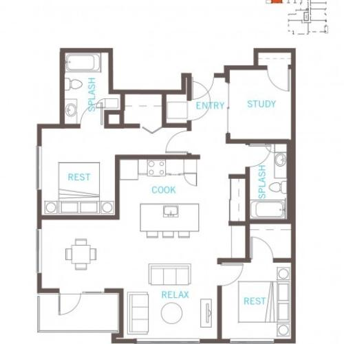 Floor Plan 54 | Bellevue WA Apartments | LIV