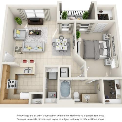 One Bedroom Floor Plans   Apartments For Rent In Rockledge FL   Polo Glen