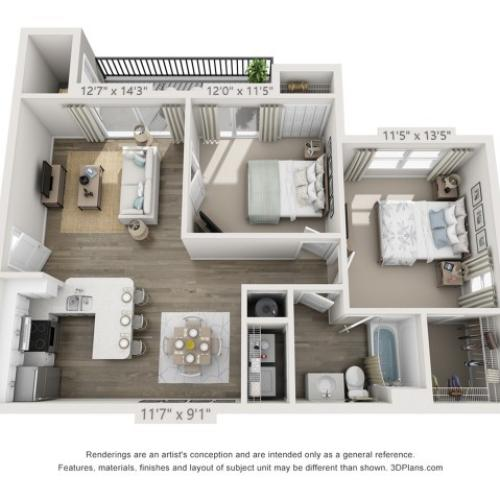 Floor Plan 4 | Apartments Boynton Beach Florida | Ashley Lake Park