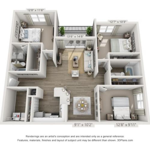 Floor Plan 7 | Apartments Boynton Beach | Ashley Lake Park