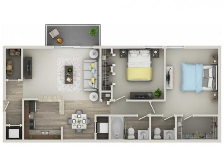 Two Bedroom / One and a Half Bath
