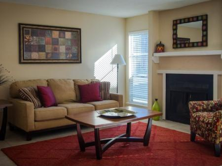 Open living areas with wood burning fireplace