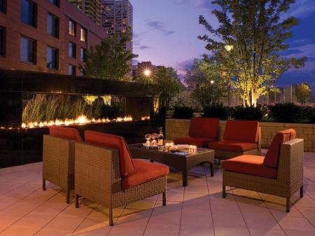 Luxury Apartments in Chicago, front padio | Sky55 apartments at Central Station