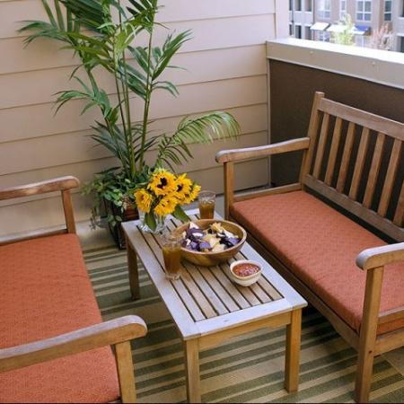 Enjoy private balconies and patios in our Denver apartments at Botanica Town Center