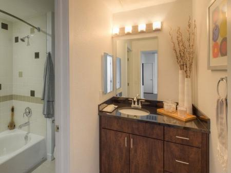 Relaxing bathrooms in each of our apartment houses for rent in Denver at Botanica Eastbridge