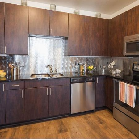 Beautiful kitchens in each of our studio apartments in Denver at Botanica Eastbridge