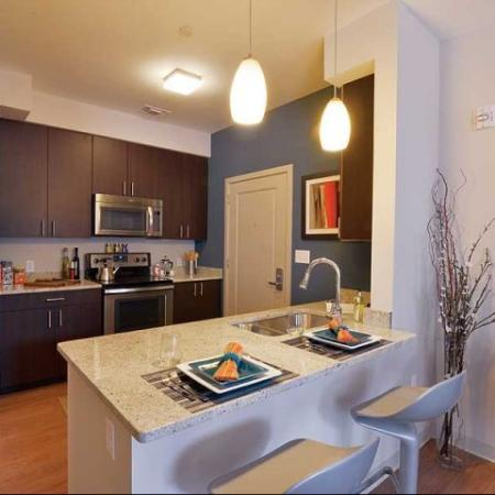 Open kitchen counter seating