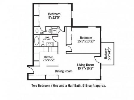 Two Bedroom / One and Half Bath