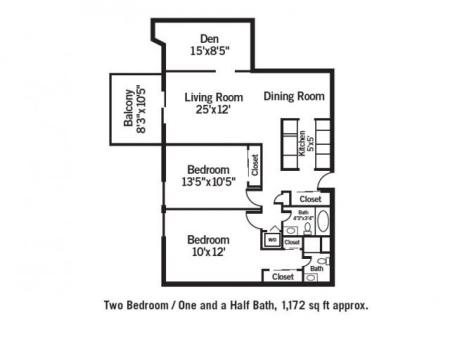 Two Bedroom / One and Half Bath Plus Den