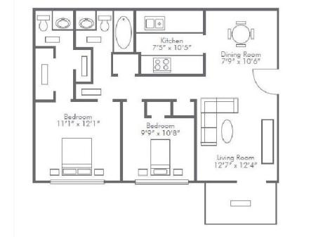 2 Bedroom / 1.5 Bath