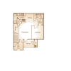 2D Floor Plan image 1 for the 1 BR Floor Plan of Property Central Park Apartments