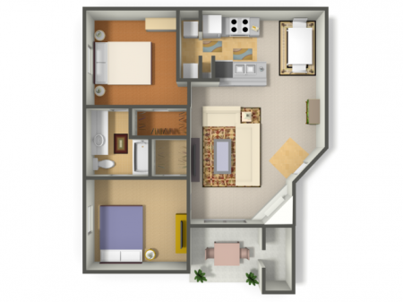 Two Bedroom/One Bath  (B1)