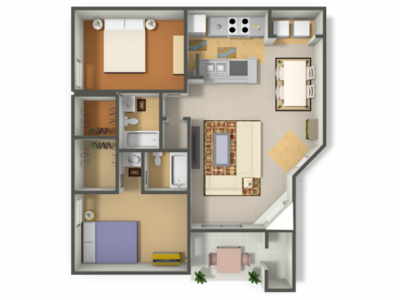 Two Bedroom/Two Bath  (B2)