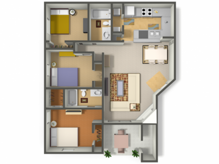 Three Bedroom/Two Bath  (C1)