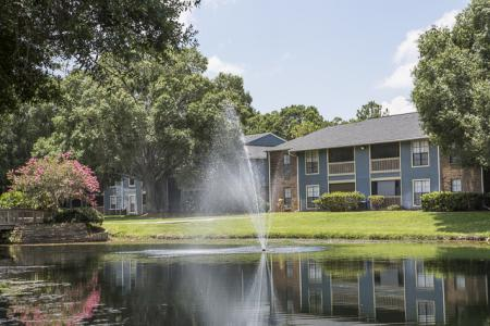 Pond with Fountain | Landmark at Avery Place Apartment Homes Tampa, FL