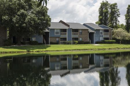 Pond and Apartment Buldings | Landmark at Avery Place Apartment Homes Tampa, FL