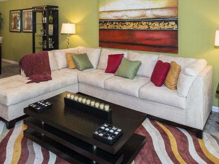 Bright Living Room | Caveness Farms Apartments Wake Forest, NC