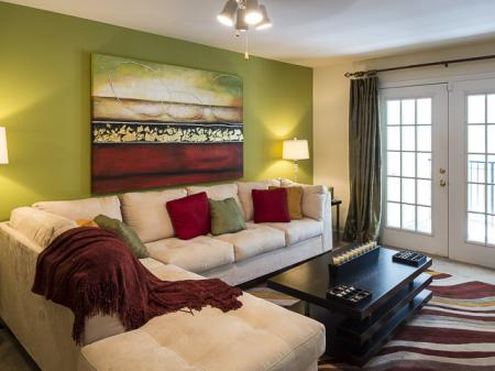 Furnished Living Room | Caveness Farms Apartment Homes Wake Forest, NC
