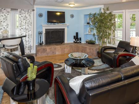 Lounge Area with Fireplace | Landmark at Chesterfield Apartment Homes Pineville, NC