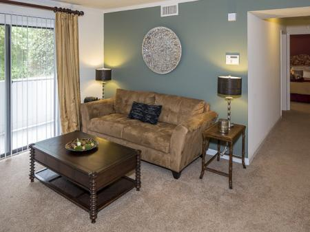 Living Room | Landmark at Chesterfield Apartment Homes in Pineville, NC