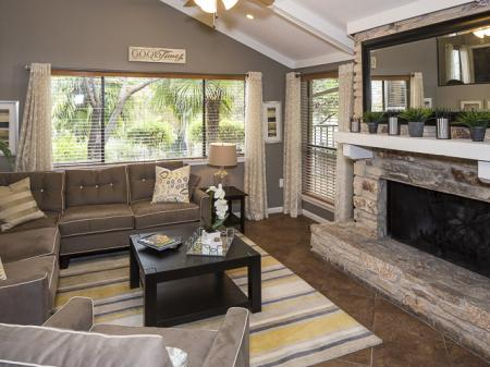 Resident Area with Fireplace | Landmark at Barton Creek Apartment Homes in Austin, TX