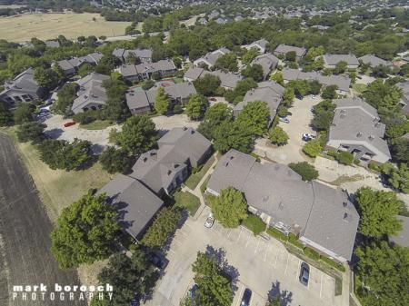 Aerial View of Landmark at Collin Creek Apartment Homes in Plano, TX