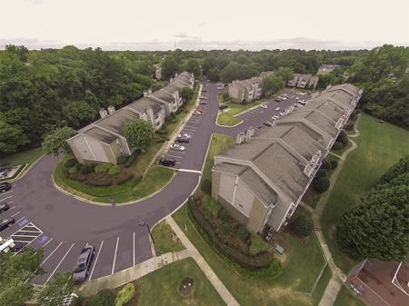 Aerial Photo of Landmark at Chesterfield Apartment Homes in Pineville, NC