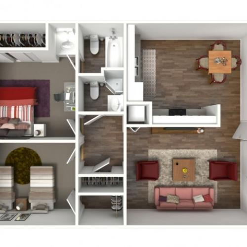 The Santa Barbara (2X2) 3D Furnished
