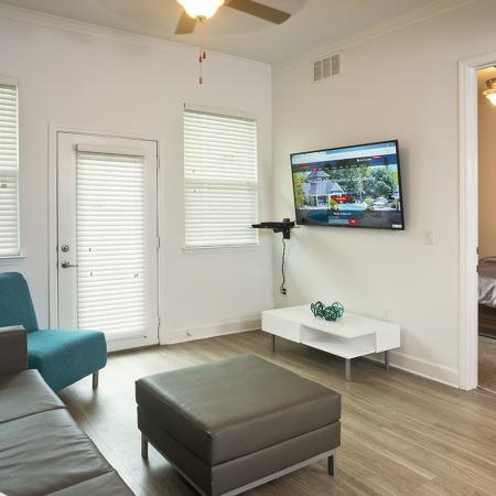 Living area with modern couch, chair, ottoman, and wall mounted television.  Doorway to bedroom is open, showing made bed, ceiling fan.