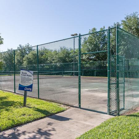 Community tennis courts surrounded by grass.