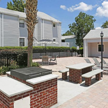 Outdoor grill encased in brick, brick and concrete picnic table, with landscaping, fence, and buildings in background.