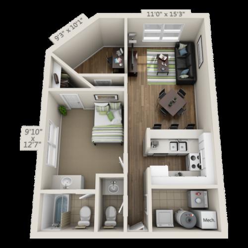 1 Bedroom 1.5 Bathroom Floor Plan