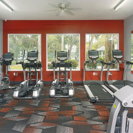 Fitness center with cardio equipment. Large windows in background..
