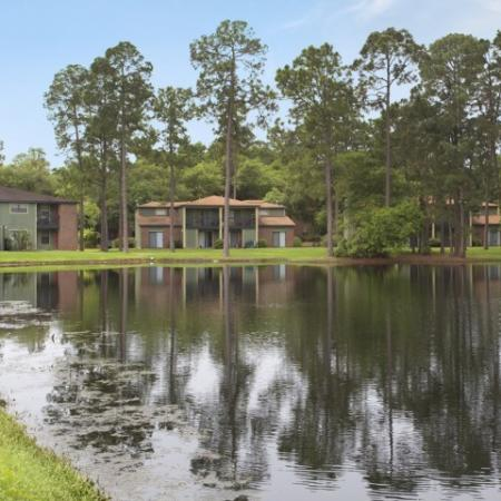 Large pond with tall pines and apartment buildings in the background.