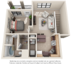 The Carriage House 1 bedroom 1 bathroom floor plan
