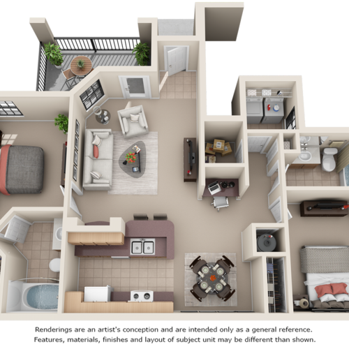 Morgan 2 bedrooms 2 bathrooms floor plan