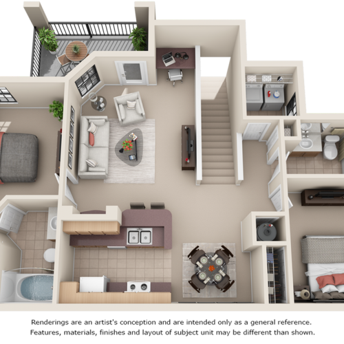 Morgan II 2 bedrooms 2 bathrooms floor plan