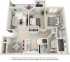 Palermo 2 bedrooms 1 bathroom floor plan