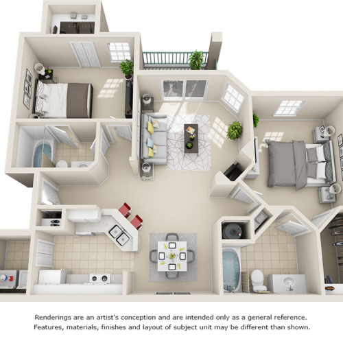 Capri 2 bedrooms 2 bathrooms floor plan