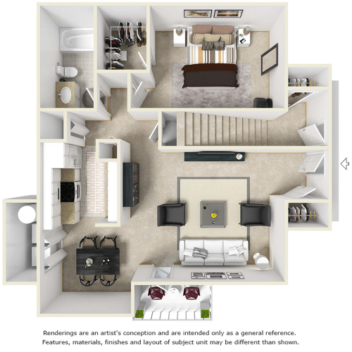 Monarch 1 bedroom 1 bathroom floor plan