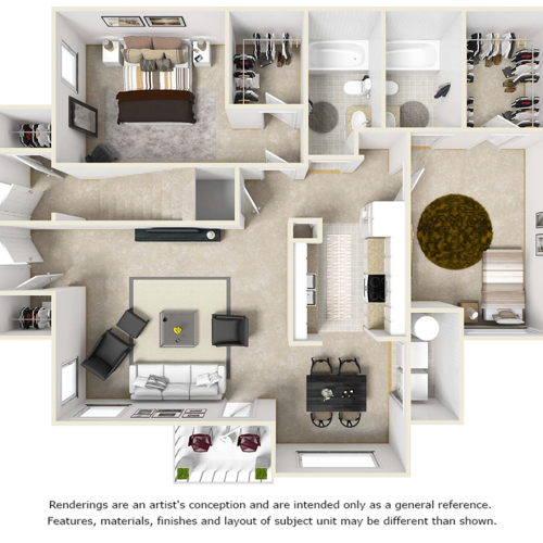 Abernethy 2 bedrooms 2 bathrooms floor plan