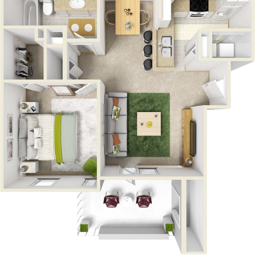 Birchwood 1 bedroom 1 bathroom floor plan