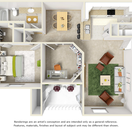 Cypress 2 bedrooms 1 bathroom floor plan