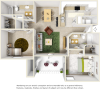 Maple 2 bedrooms 2 bathrooms floor plan