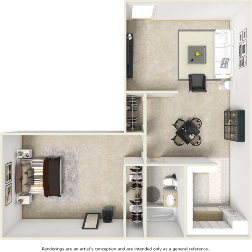 Delano floor plan with 1 bedroom and 1 bathroom
