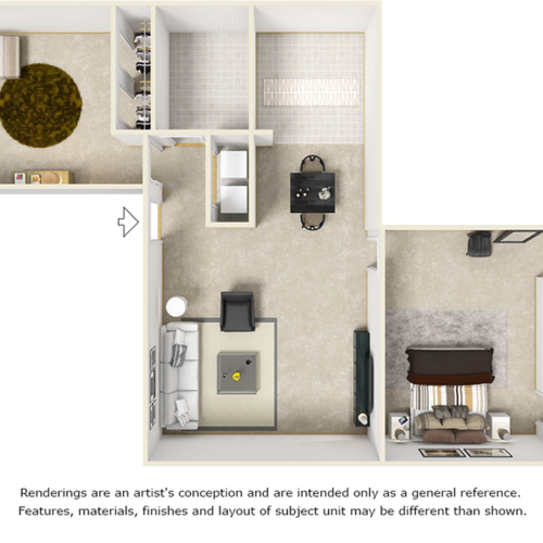 Carlyle floor plan with 2 bedrooms, 2 bathrooms, enhanced finishes and wood style floors