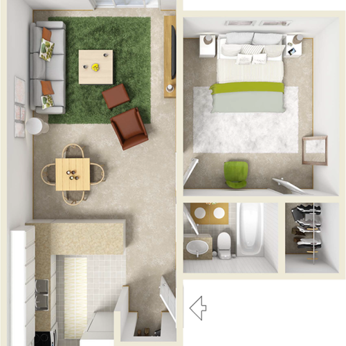 St. John floor plan with 1 bedroom, 1 bathroom and premium wood style flooring