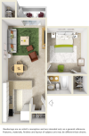 St. John floor plan with 1 bedroom, 1 bathroom and wood style flooring in common area